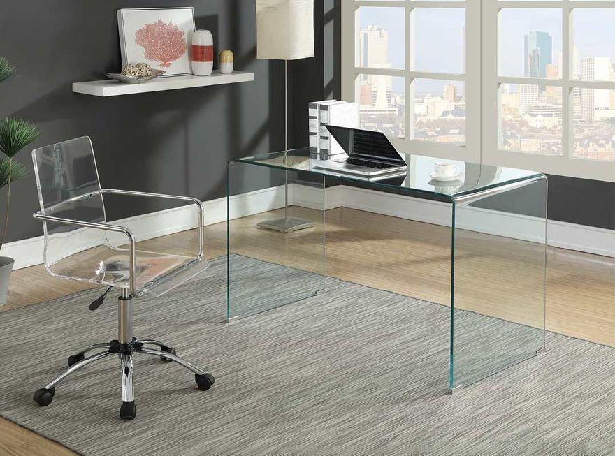 Kenly Clear Desk Glass Desk Home Office Furniture Furniture