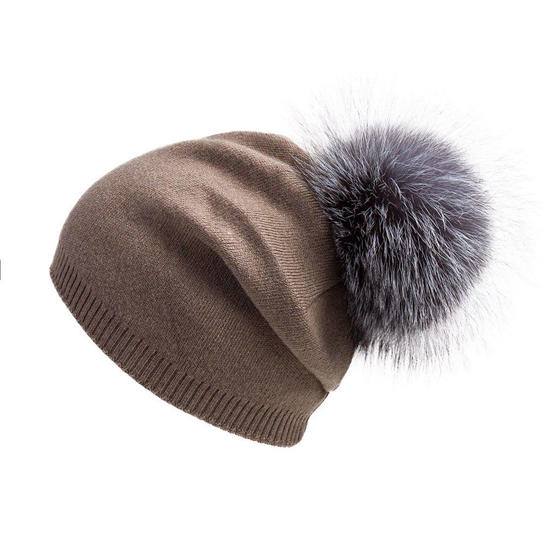 Women Oversized Slouchy Beanie Bobble Hat Fur Pompom VC17601 - Khaki ... 88e844e7013