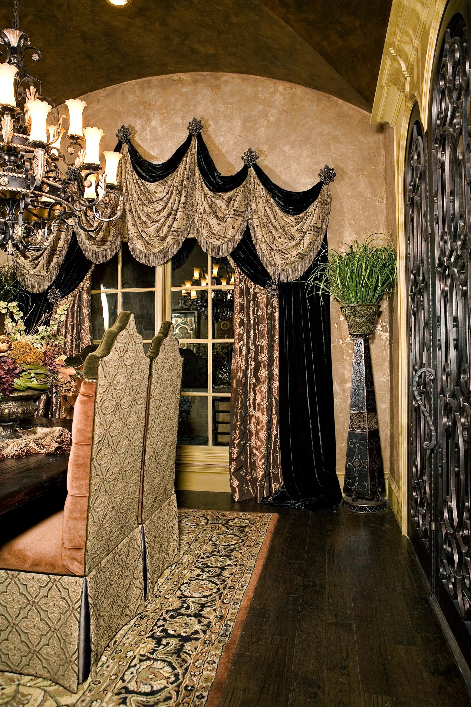 Drapery Grandeur Design Dining Room Curtains Tuscan Decorating Tuscan Style