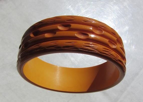 9b96348fb2fba Bakelite Bangle Bracelet Caramel Custard Carved And Grooved in 2019 ...