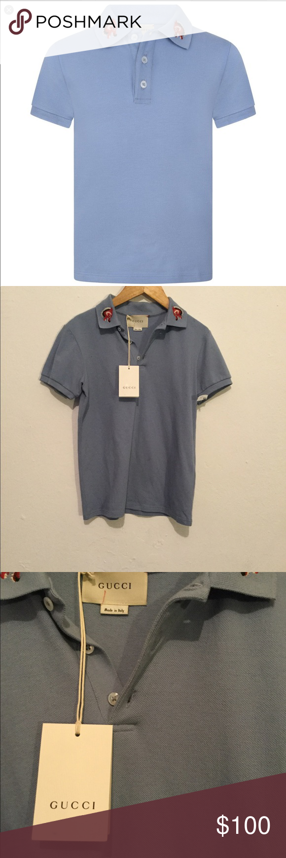 43134ec0 Gucci boys blue wolf collar polo 100% authentic New with tags boys size 10y Gucci  Shirts & Tops Polos