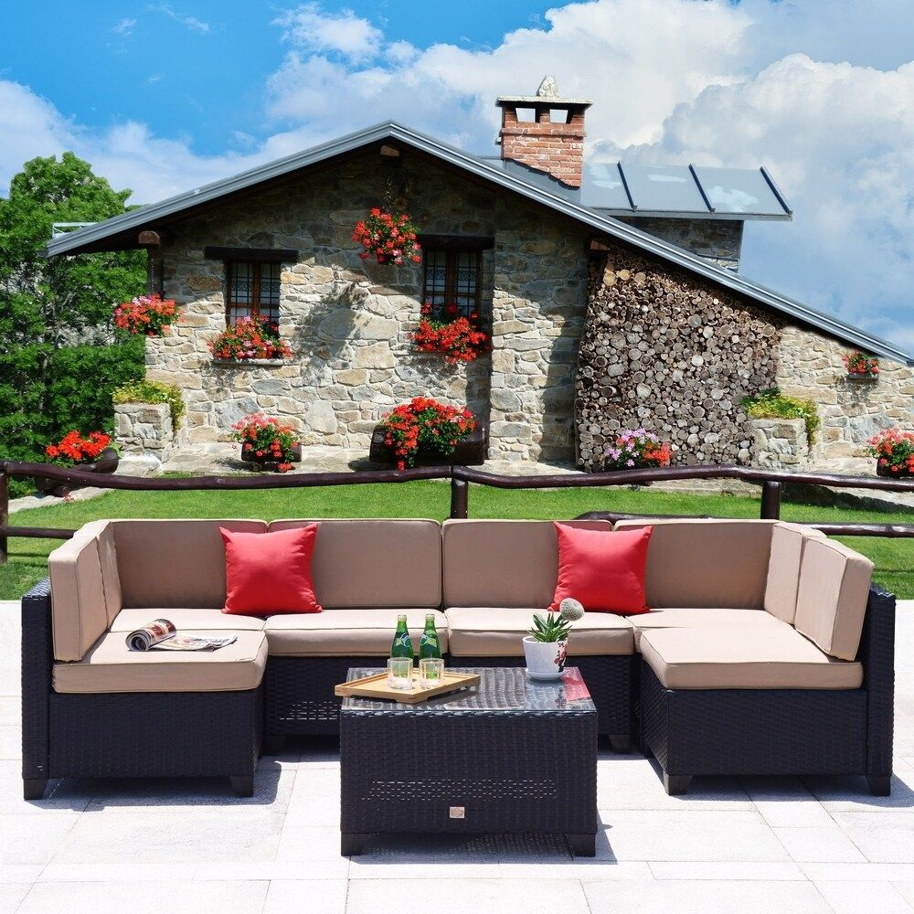 7 PC Patio PE Black Rattan Wicker Furniture Sectional Sofa