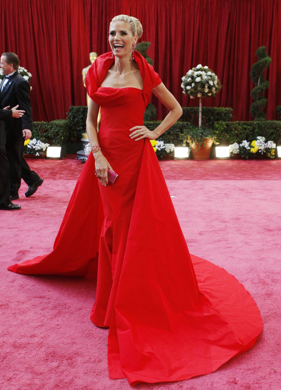 Model Heidi Klum In John Galliano Red Gown Redgown