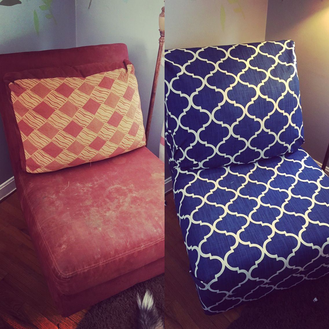 Diy reupholster armless chair in love with the result ❤ reupholsterchair