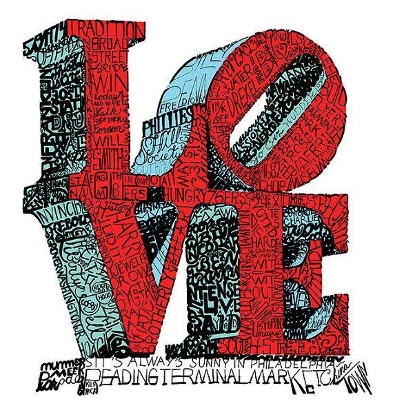 Love Park Word Art Philadelphia Art Free Shipping Etsy In 2020 Philadelphia Art Word Art Love Art Images