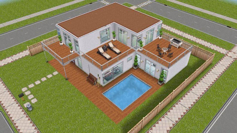 Small Modern House 2 simsfreeplay sims house pool modern