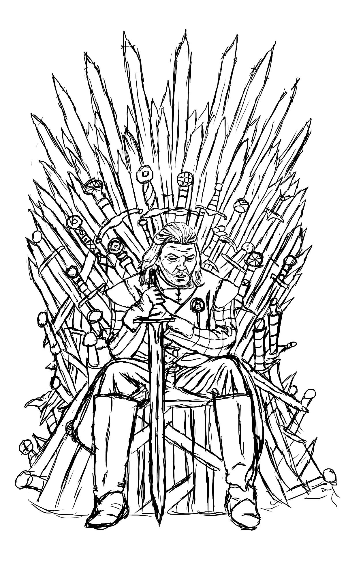 Free coloring page «coloring-adult-game-of-throne-ned