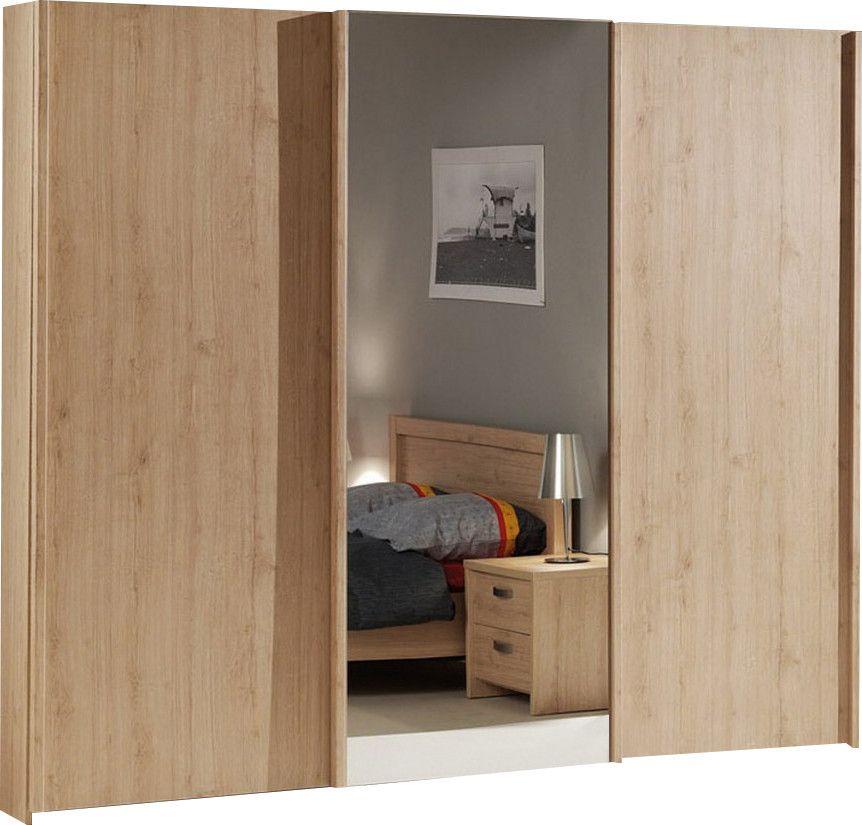 Armoire bois à 3 portes coulissantes couleur chêne