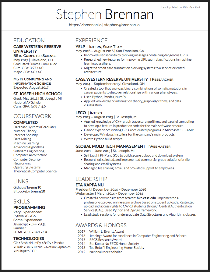 Software Engineer Resume Experience Yelp Intern Spam Team May 2016
