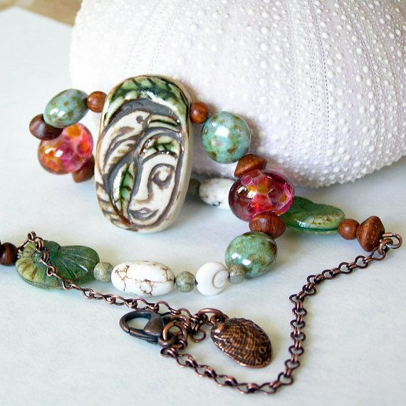 Funky Beaded Necklace Tropical Summer Colors Clay by BanteringBird, $45.00