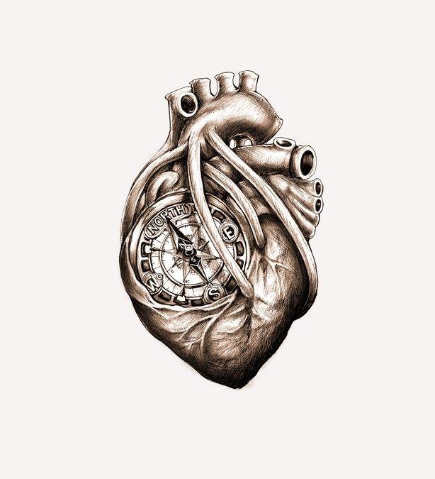 905995739e459 Greyscale Drawing of Da Vinci Anatomical Heart w/ Nautical Compass for  Tattoo by simbe