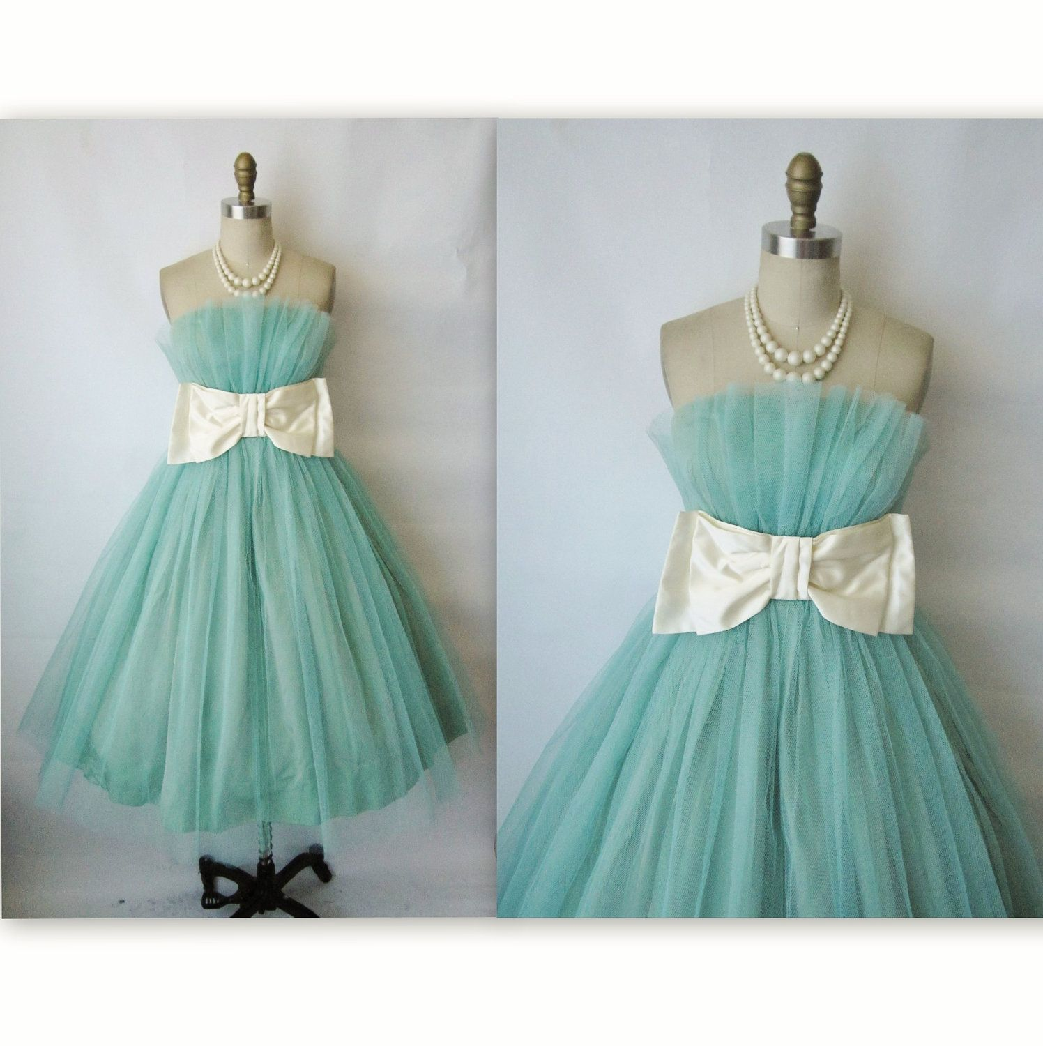 50\'s Prom Dress // Vintage 1950\'s Tiffany Blue Tulle Strapless Bow ...