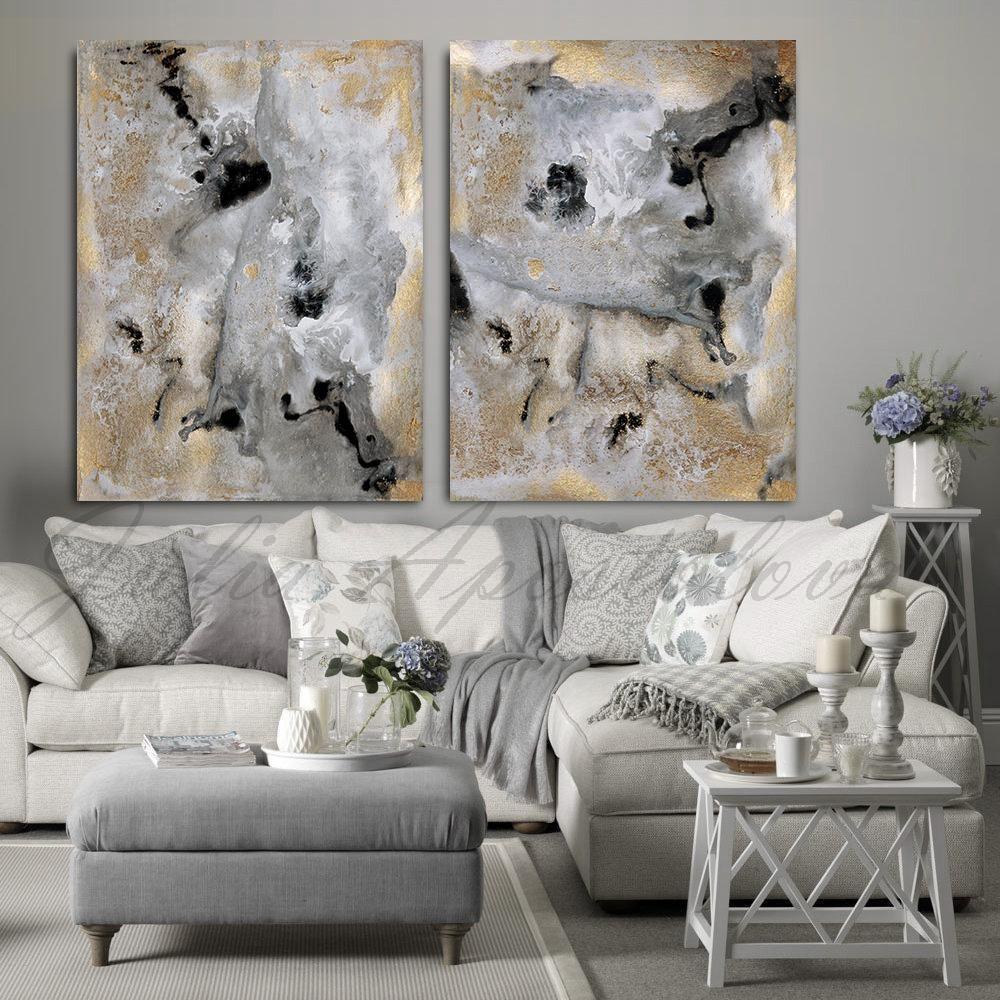 Gray gold black wall art modern decor abstract print