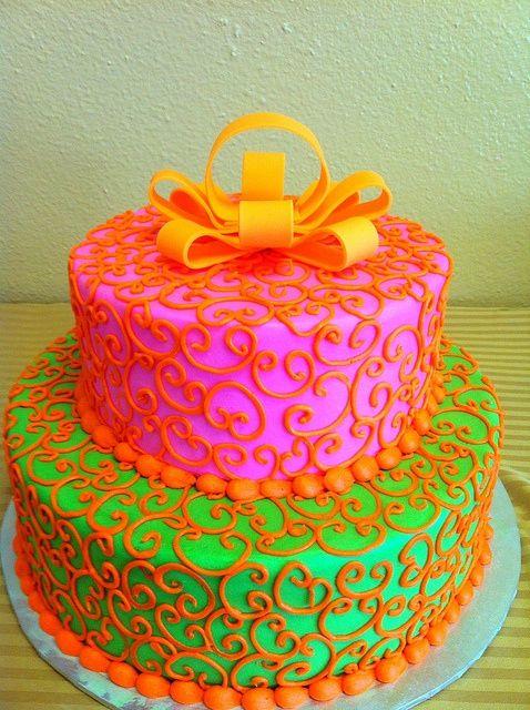 pink green orange cake