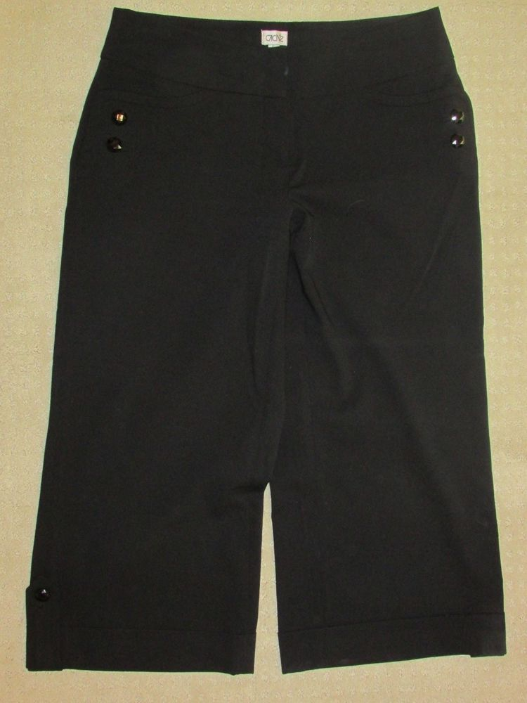 CACHE Sz 6 Black Capri Pants Dressy Black Button Trim Cuffs ...