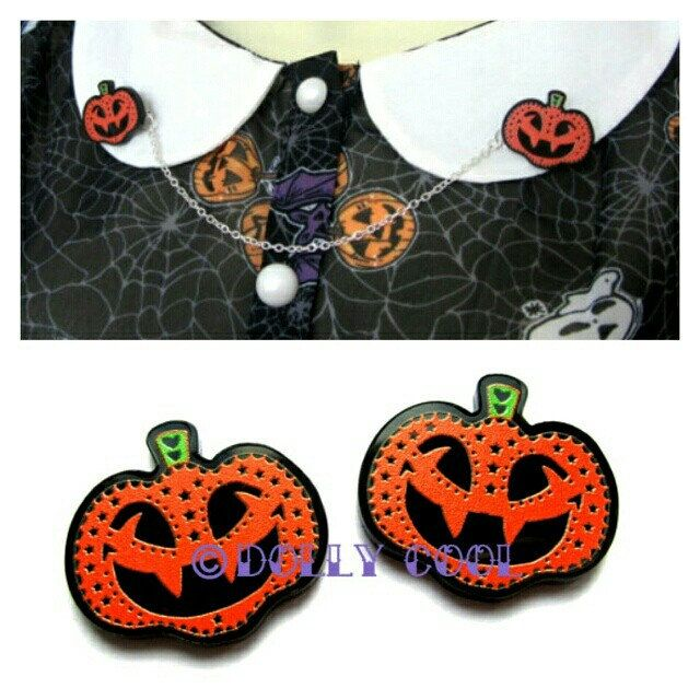 Pumpkin love! 🎃 ❤ My own design spooky Pumpkins available as earrings or collar clips 🎃 ❤ 🎃 ❤