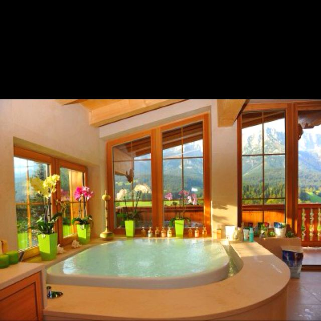 Giant Bathroom With Overflow Bathtub, Giant Windows, House Out In The  Country So No