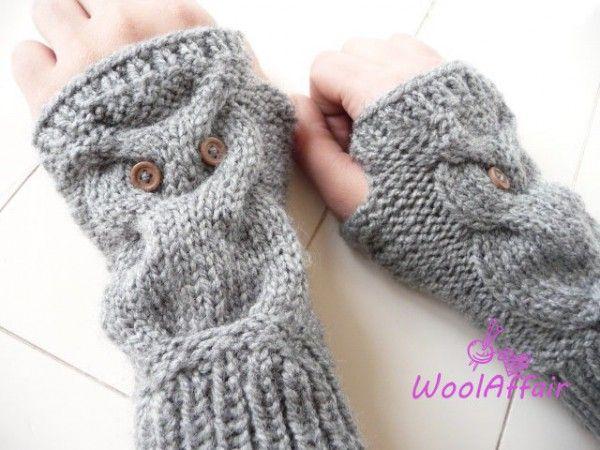 handschuhe ohne finger stricken eulen motiv stricken. Black Bedroom Furniture Sets. Home Design Ideas