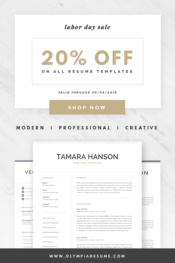 labor day sale enjoy 20 off on all resume templates shop now for modern resume templates for microsoft word and mac pages