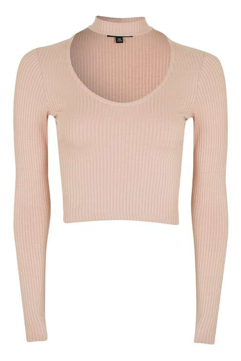 acc3806f56 Long Sleeve Choker Top. Topshop. Light Pink.