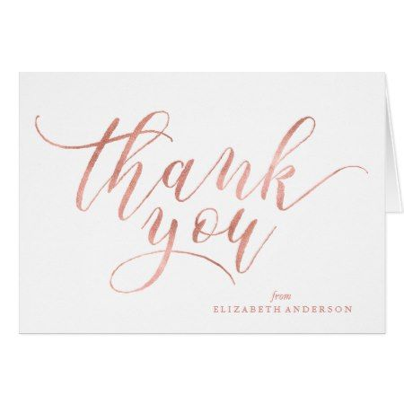 Faux Rose Gold Script Thank You Card - click to get yours right now ...