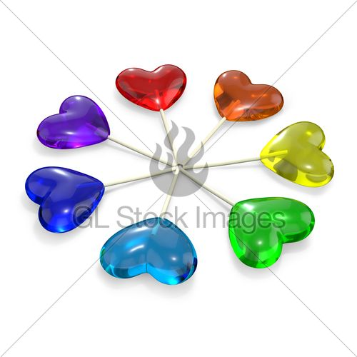Colored Hearts Seven Heart Shaped Lollipops Colored As Rainbow Gl Stock Images Heart Shaped Lollipops Heart Shapes Color