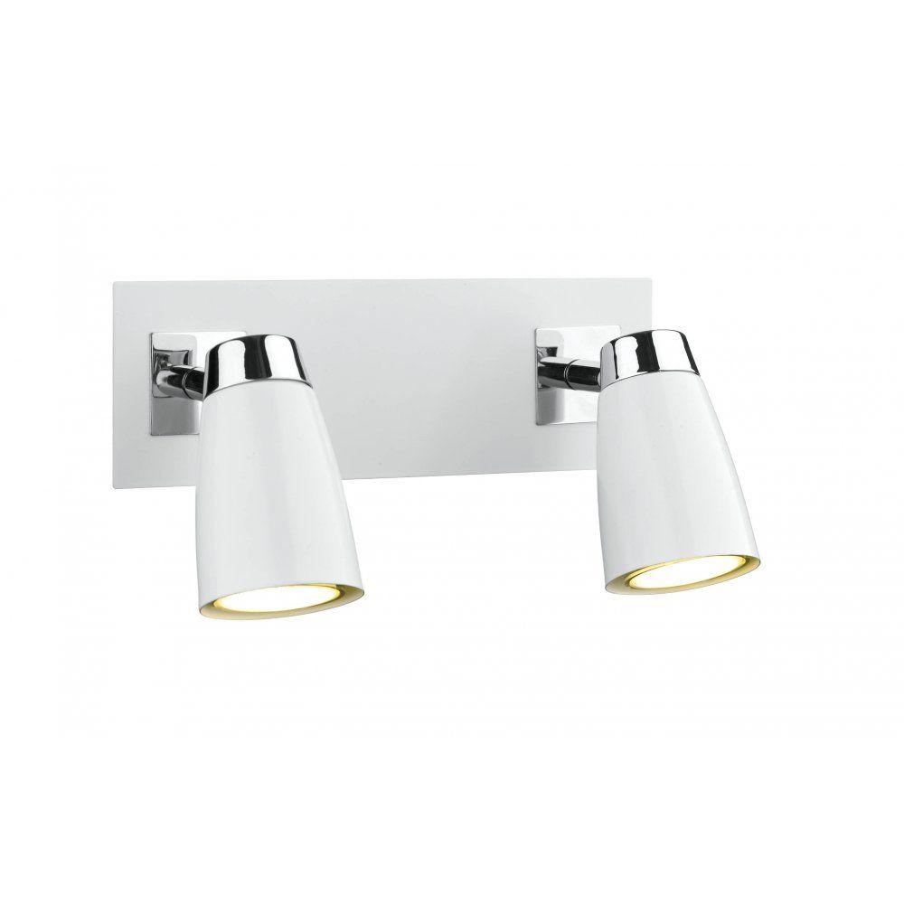 Dar Lighting Loft Low Energy 2 Light Wall Spotlight Bar White Finish LOF772