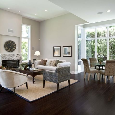 Dark Floor Light Wall Design Ideas Pictures Remodel And Decor Contemporary Family Rooms Living Room Wood Floor Living Room Grey