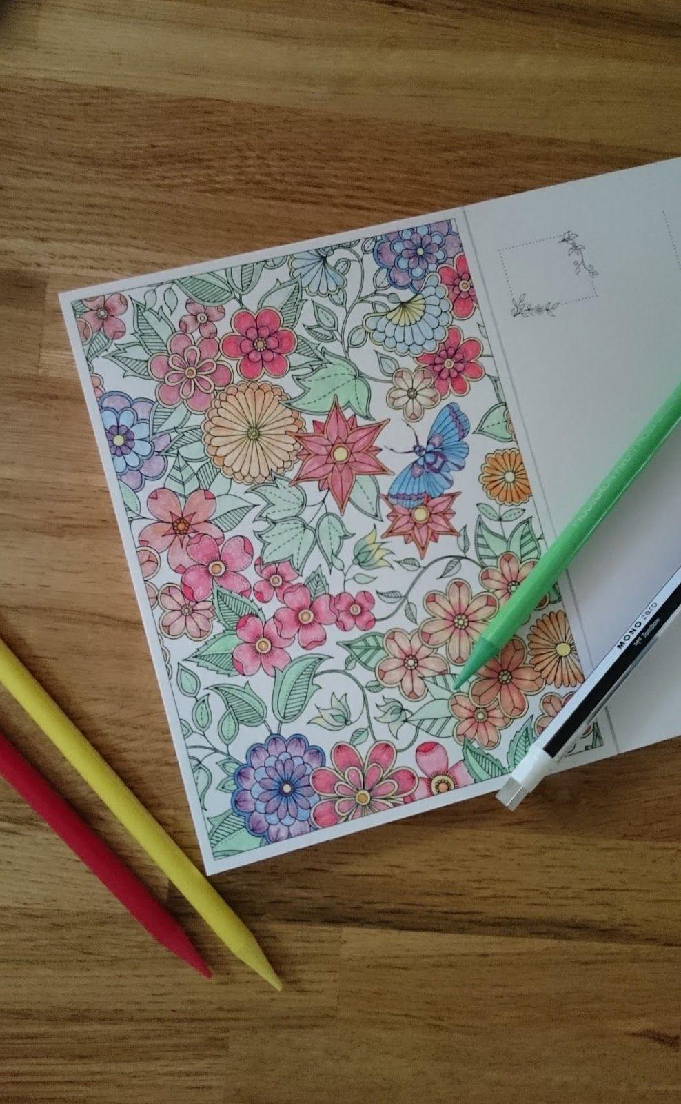 Secret Garden Postcard 1 Colouring Challenge Postcard Design Secret Garden Colouring Postcard