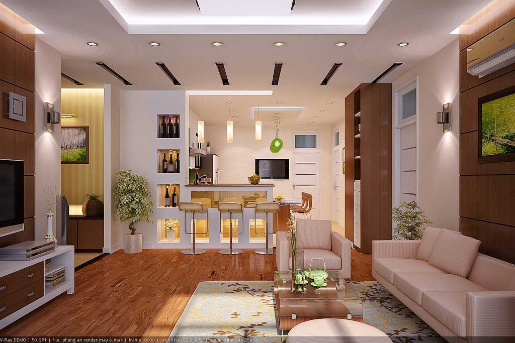 Interior Rendering Living Room Design And Kitchen Elengant Wood By Designer Vu Khoi