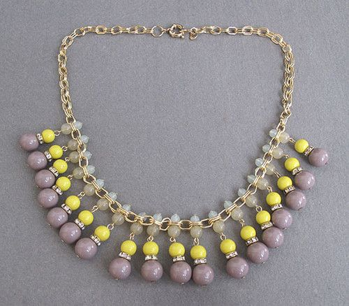 J.Crew Luxurious Goldplated Yellow+Lilac Drop Necklace