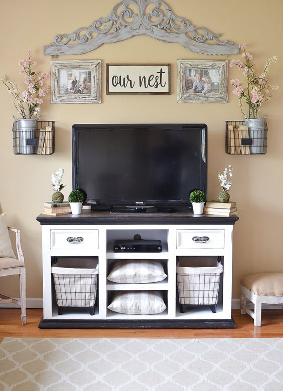 Easy Farmhouse Style Tv Stand Makeover Sarah Joy Farmhouse Decor Living Room Farm House Living Room First Apartment Decorating