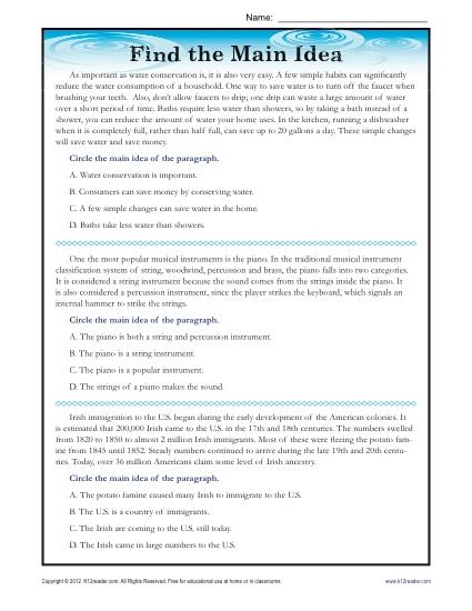 High School Main Idea Reading Passage Worksheet Goruntuler Ile
