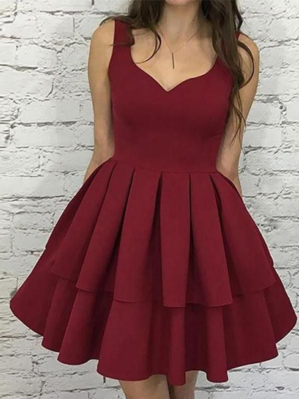21c330e56ed Simple Dark Red V Neck Cheap Homecoming Dresses 2018