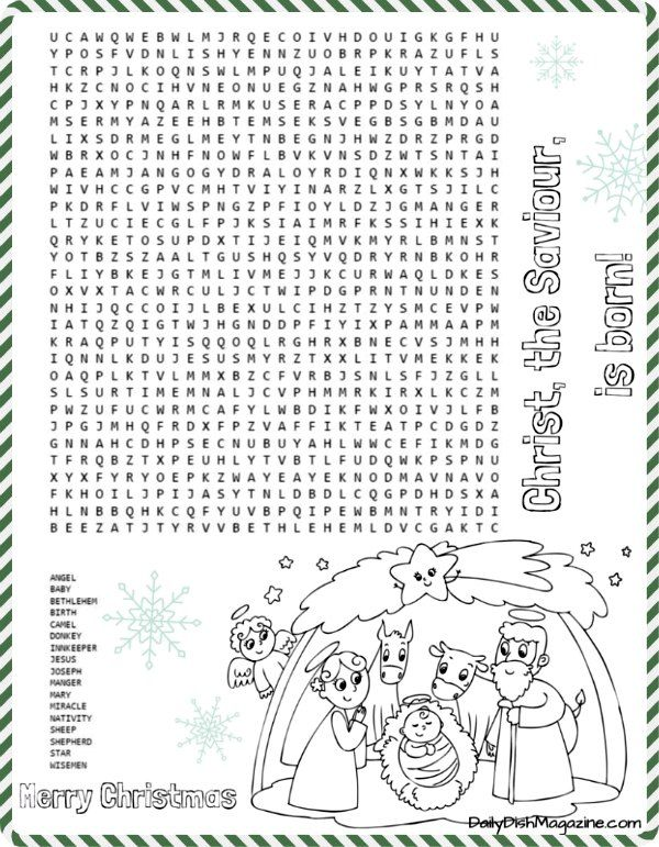 Free Christmas Nativity Word Search Puzzle Printable