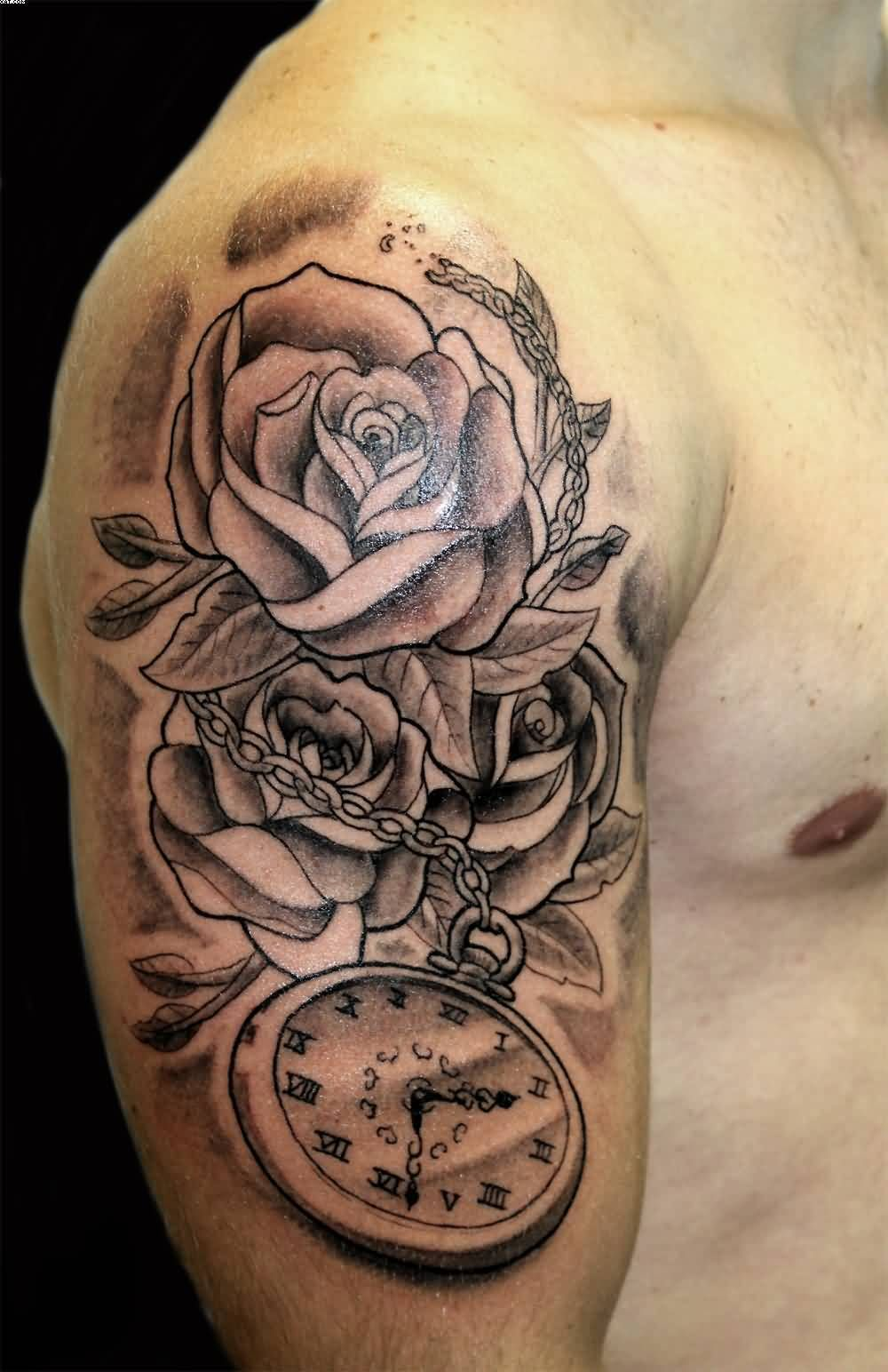 Grey roses and clock tattoo on man right half sleeve for Clock tattoos for guys