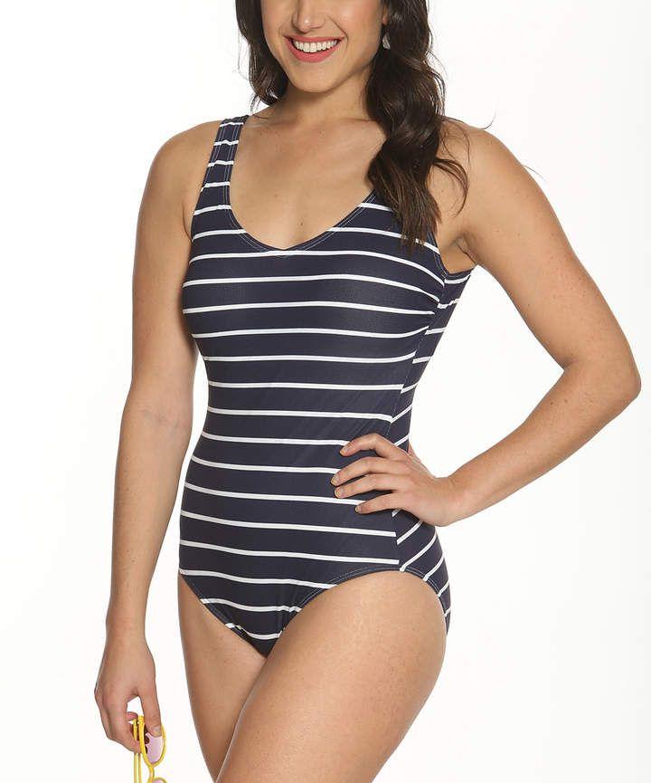63257f86b Navy Stripe Double-Scoop One-Piece Swimsuit Rayas Azul Marino