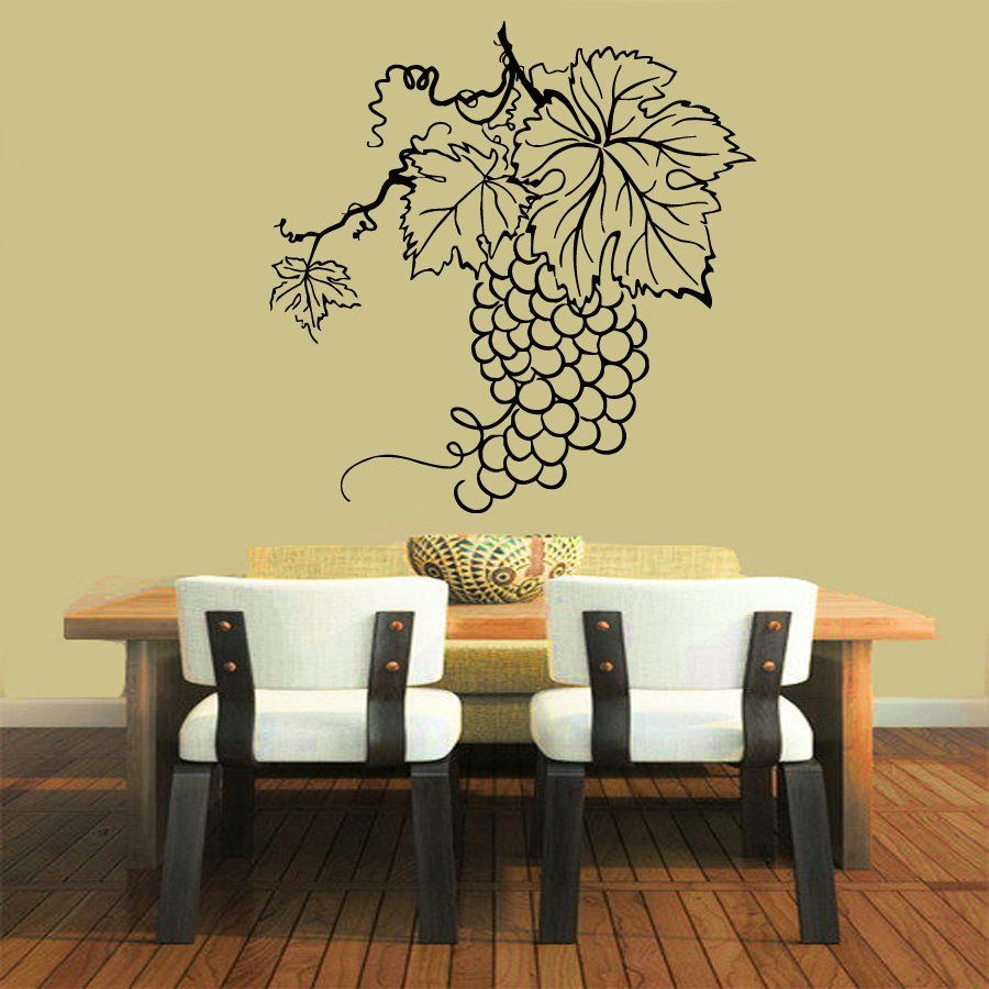 Grapes Wine Vinyl Sticker Wall Art | wall art | Pinterest | Black ...
