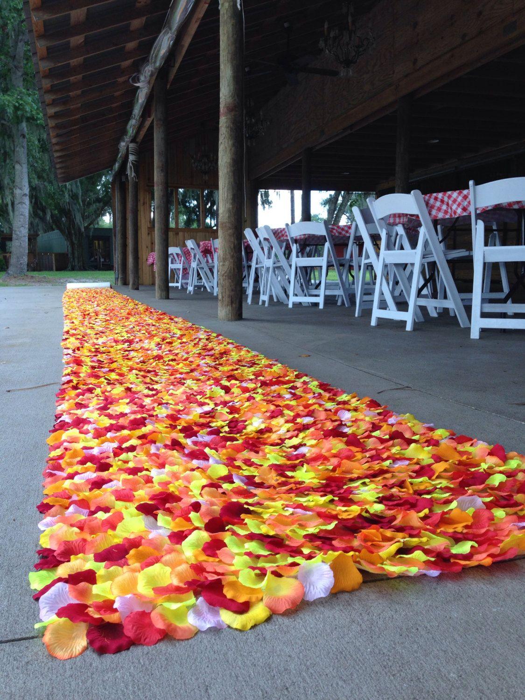 Fall in Love-Rustic Wedding Fall Aisle Runner- Orange, Yellow, & Red, Aisle Runner, Fall Wedding, Autumn Aisle Runner by PetaleDeRose on Etsy https://www.etsy.com/listing/203499057/fall-in-love-rustic-wedding-fall-aisle