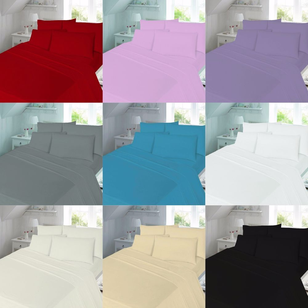 Pillow Cases Fitted Brushed Cotton Flannelette Sheet Set Flat Sheet