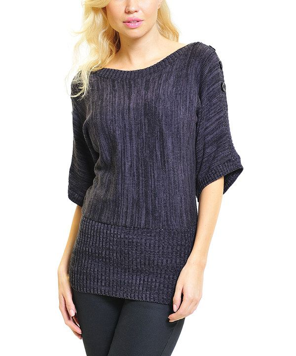 Take a look at this Black Heathered Button Dolman Top on zulily today!