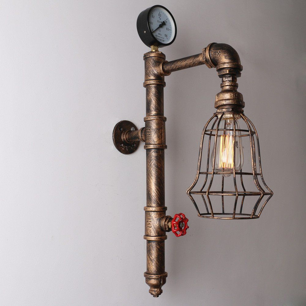 Copper Rustic Vintage Metal Cage Shade Water Pipe Wall Light Max ...