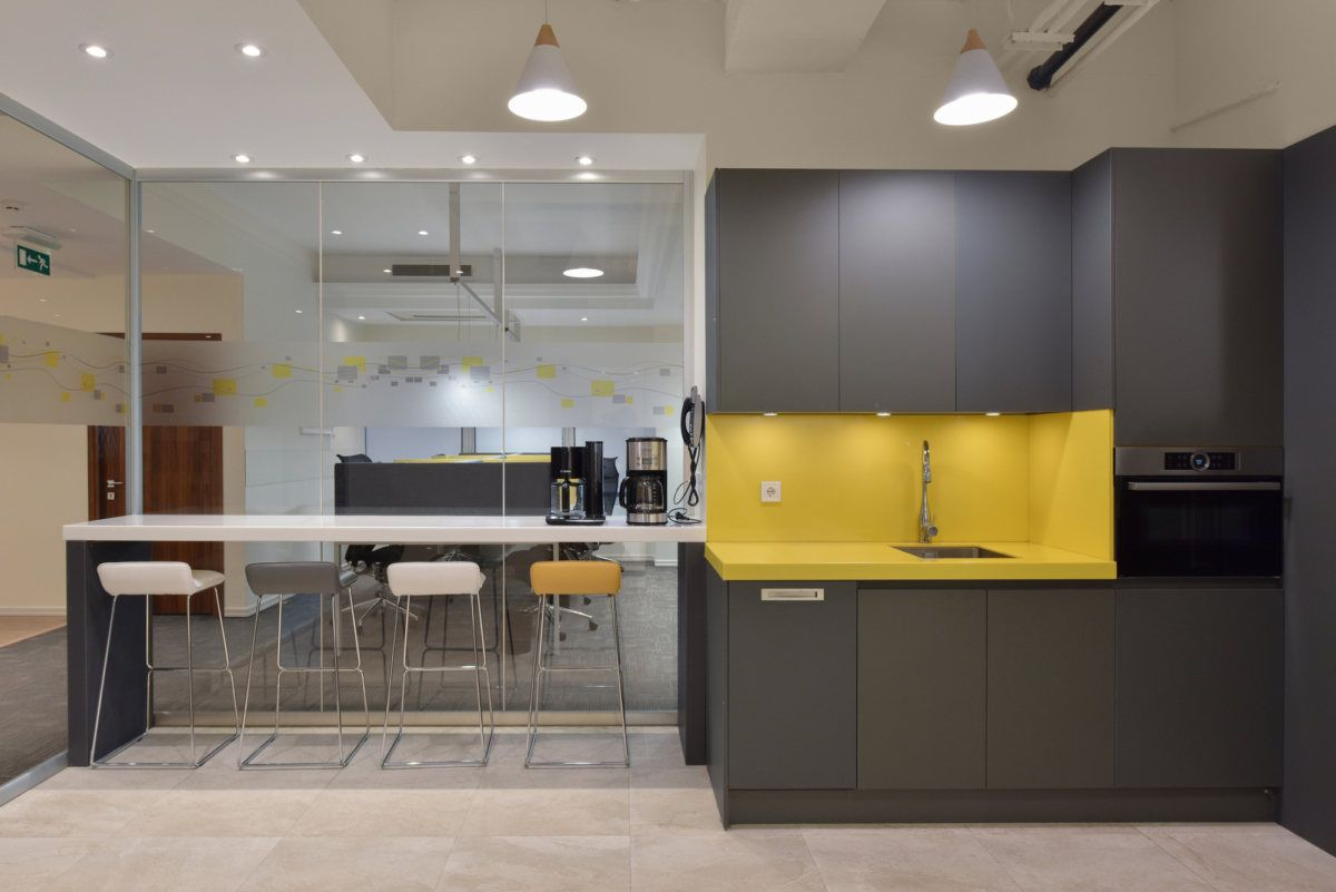 Ey Offices Tehran Office Snapshots Office Kitchenette Laminate Cabinets Corporate Interiors