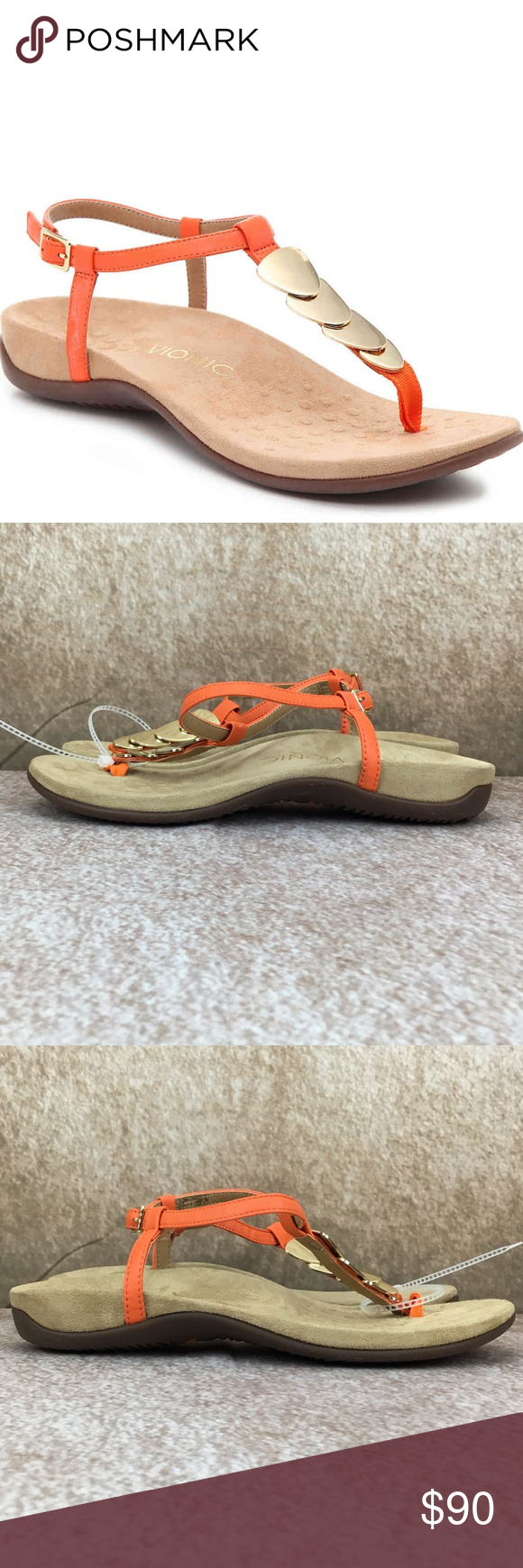 b501651c590c NWT VIONIC Rest Miami Sandals Orange Suede Shoes Vionic    New in ...
