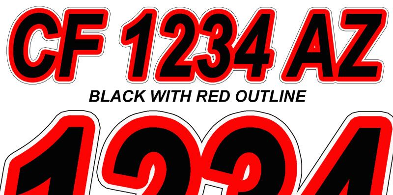 Black With Red Outline Boat Registration Numbers Lettering