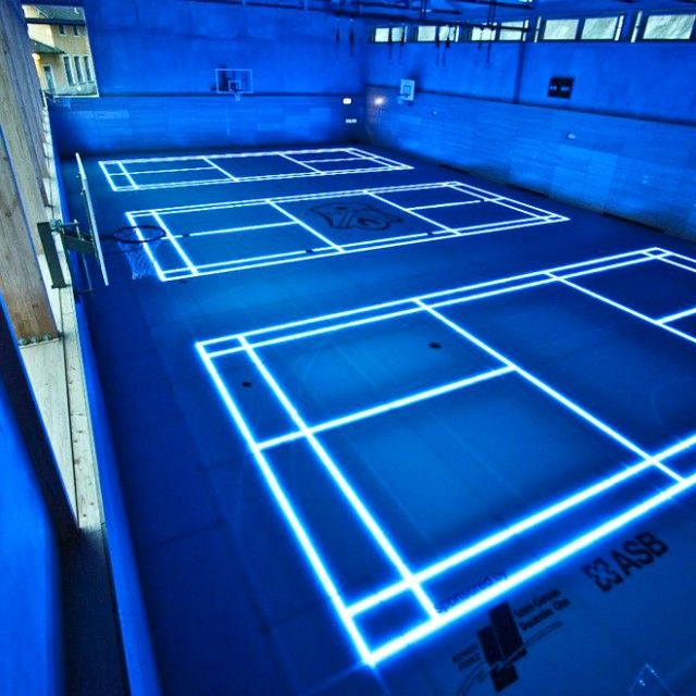 Led Marking Lines Concept Basketball Court Indoor Basketball Court Sport Court