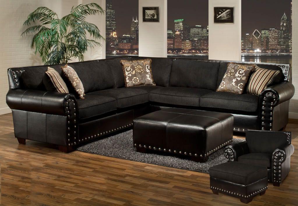 Avanti Black Sectional Sofa Ottoman Chair Ottoman 4 Pc Set Nail