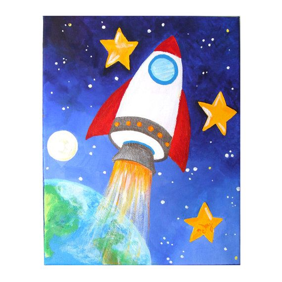 Art for kids rocket ship 11x14 acrylic canvas space for Canvas painting for kids room