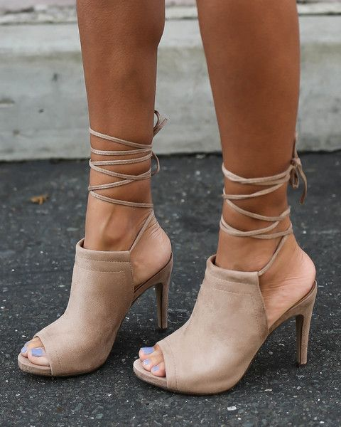 We cant get enough of lace up heels! This pair features adjustable laces so you can wear them high or low laced, peep toe cut, single soles and cushioned insole
