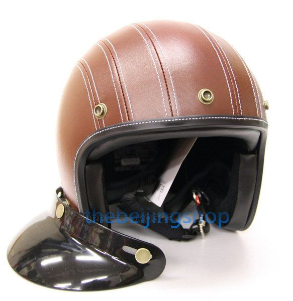 Brown Leather Cafe Racer Bobber Motorcycle Helmet
